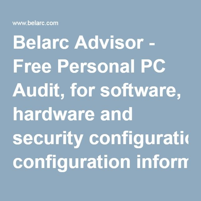 belarc advisor for linux