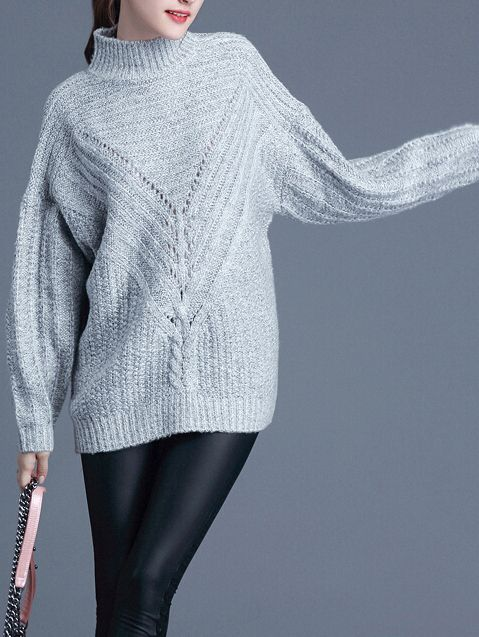 Grey Mock Neck Loose Sweater