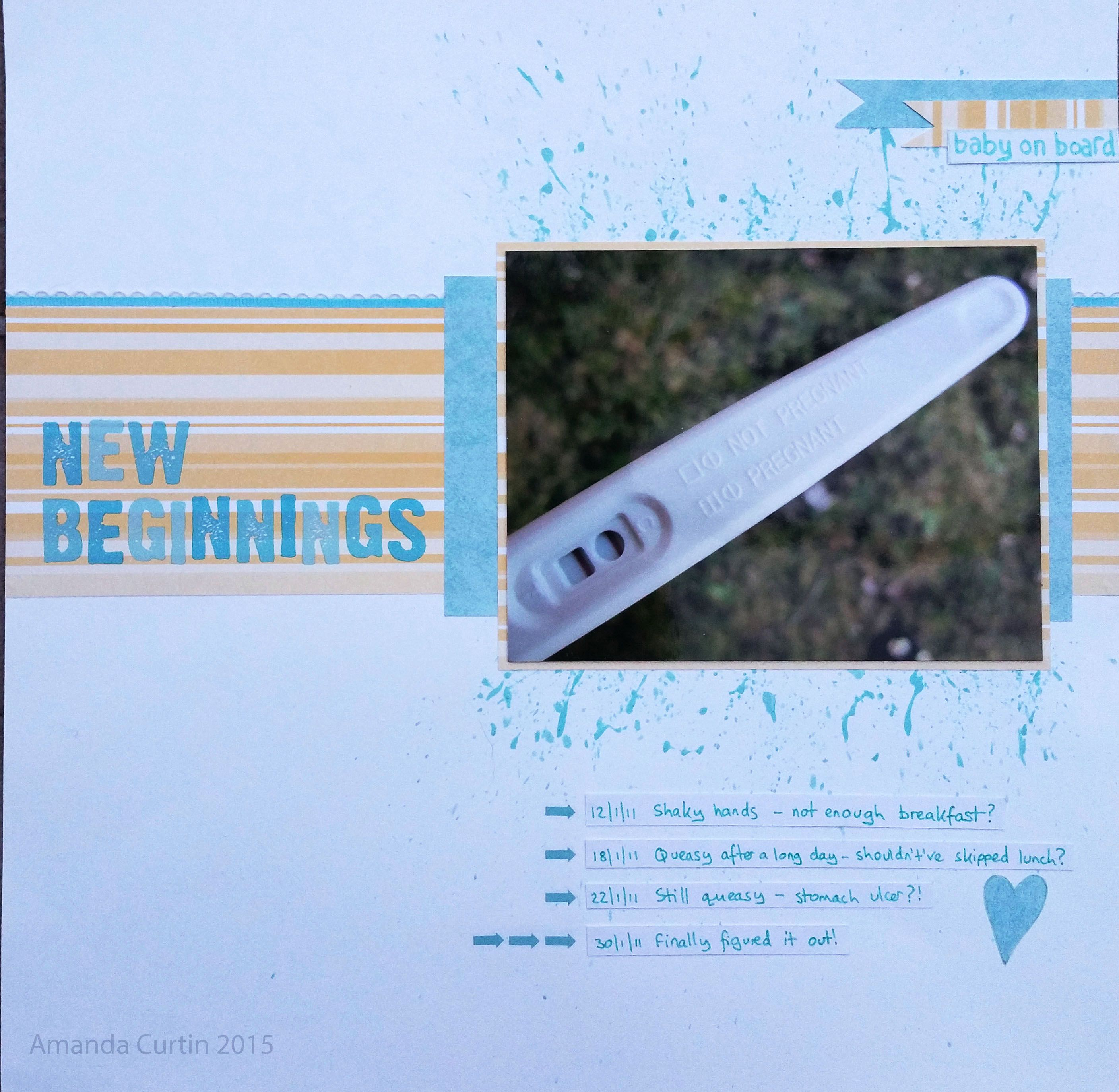 "Clean and simple scrapbook page for my ""New Beginnings"" challenge on do crafts' Craft Talk forum."