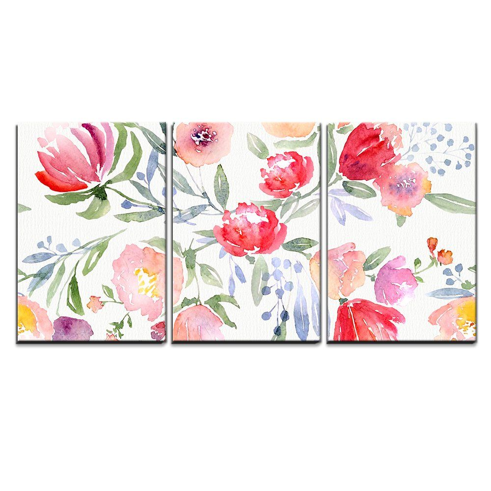 Wall26 3 Piece Canvas Wall Art Watercolor Floral Botanical Pattern And Seamless Background Modern Home Decor Floral Art Canvas Floral Watercolor Wall Canvas