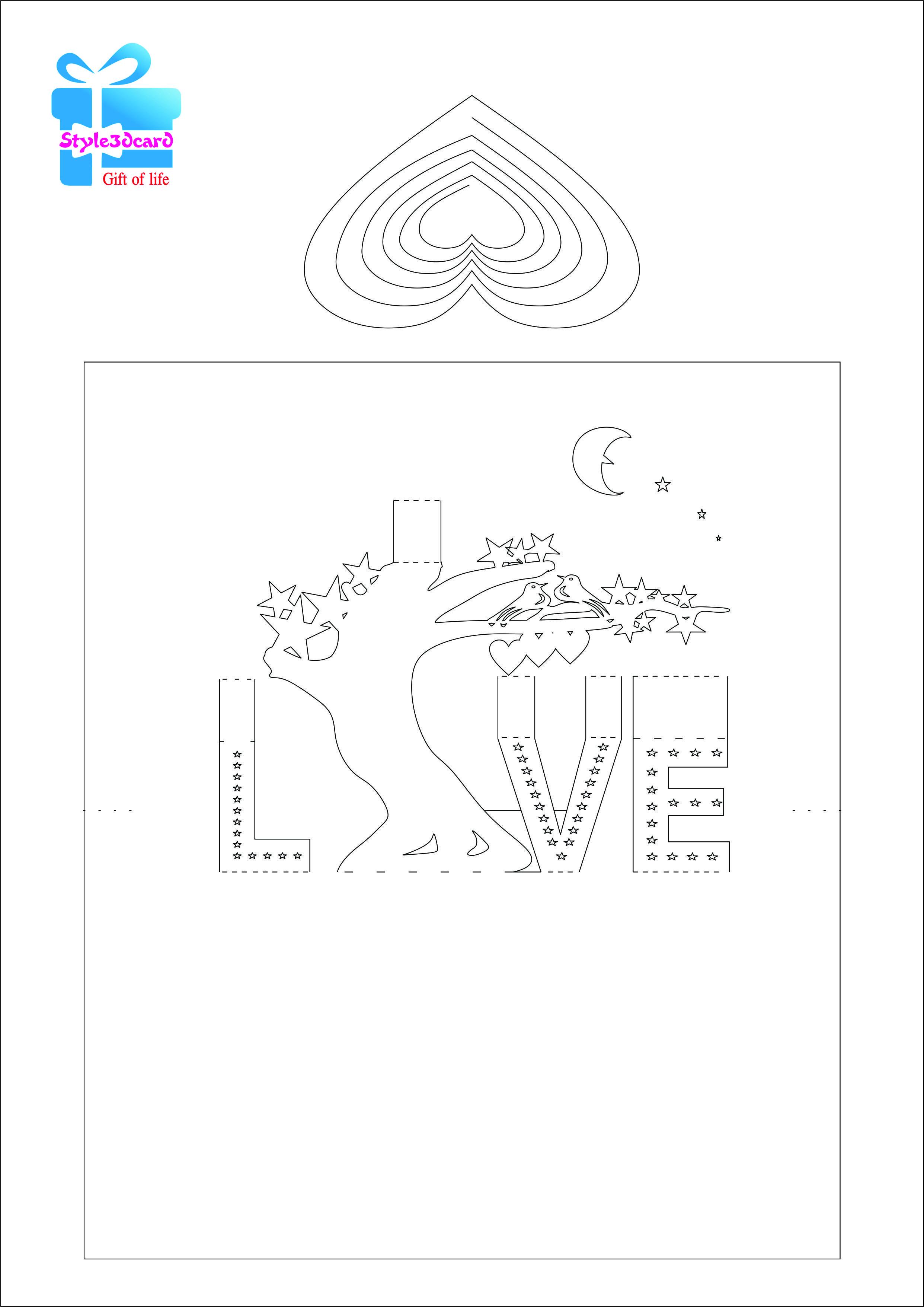 Love Tree 3d Pop Up Card Kirigami Pattern