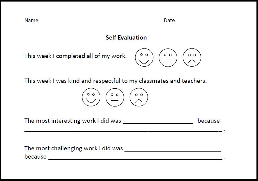 Self-evaluation form for Lower Elementary students Virtually