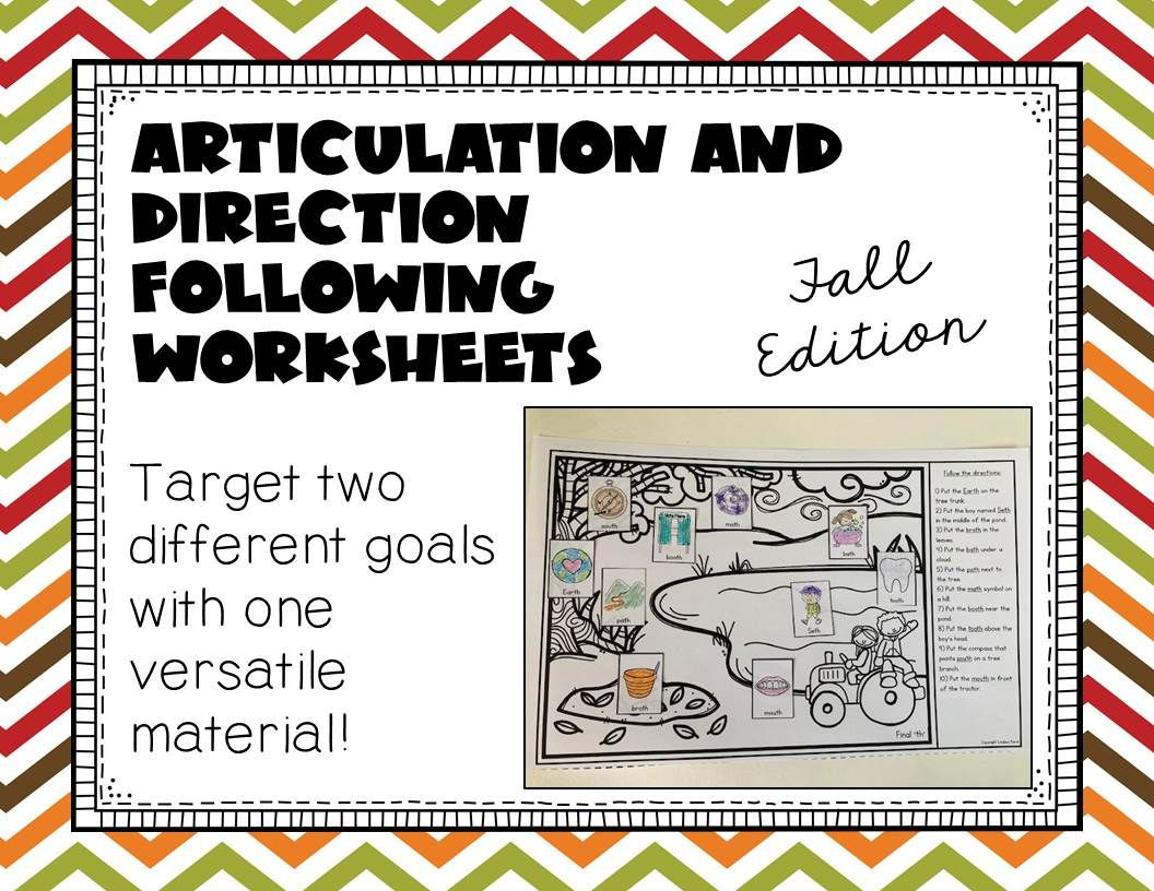 Articulation And Direction Following Worksheets Fall