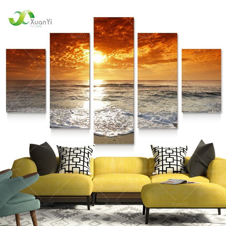 Aliexpress Com Buy 5 Panels Dusk Sunset Boat Printed: Over The Bed; 5 Panel Modern Sea Wave Painting Pictures