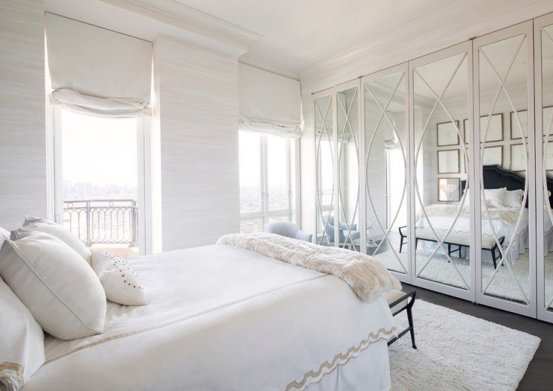 Floor To Ceiling Mirrored French Closet Doors White Walls And Dark