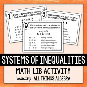 Systems Of Inequalities Math Lib One Step Equations Math Equations