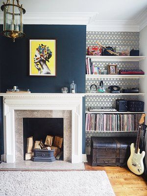 blue dark chimney breast room feature alcoves living wallpaper wall visit colours navy fireplace walls decorating