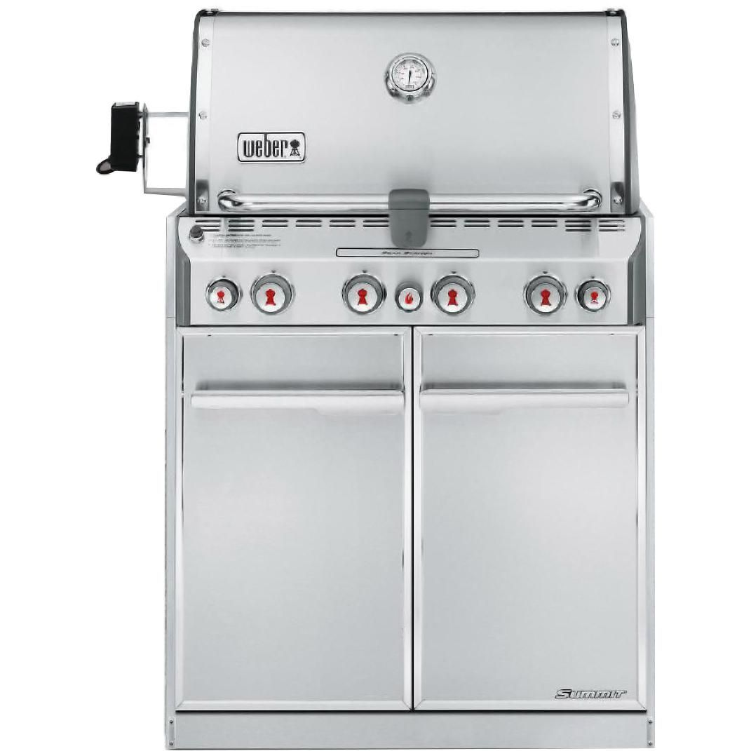 Weber Summit S 460 Built In Natural Gas Grill With Rotisserie Sear Burner 7260001 Bbqguys Natural Gas Grill Built In Gas Grills Built In Grill