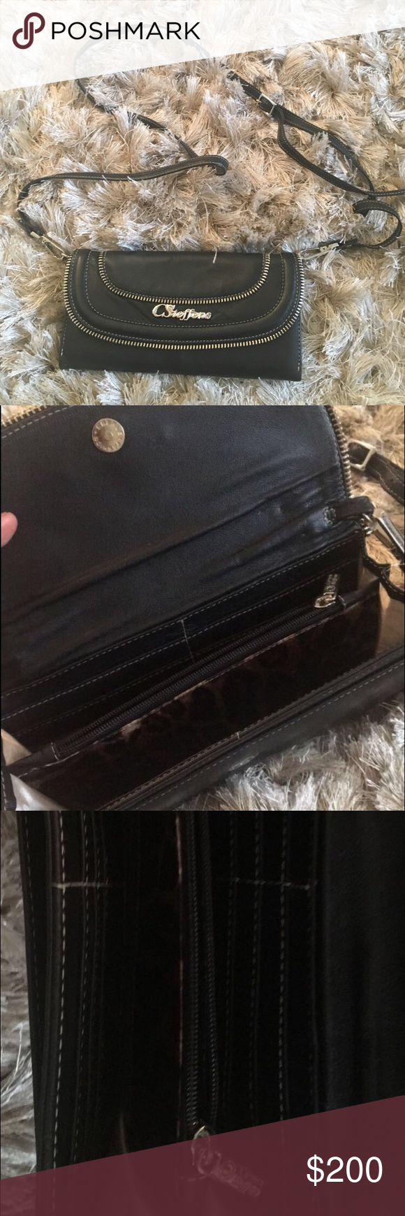 Carmen Steffens clutch with removable strap Removable strap. 12 card slots. One zipper pocket. One external pocket. Never been used carmen steffens Bags Clutches & Wristlets
