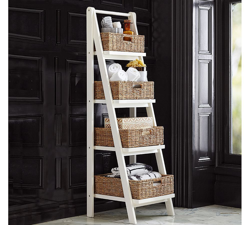 Ainsley Bath Ladder Storage White Bath Floor Storage Cabinets Pottery Barn Bathroom Shelf Decor Shelves Over Toilet Small Bathroom Storage