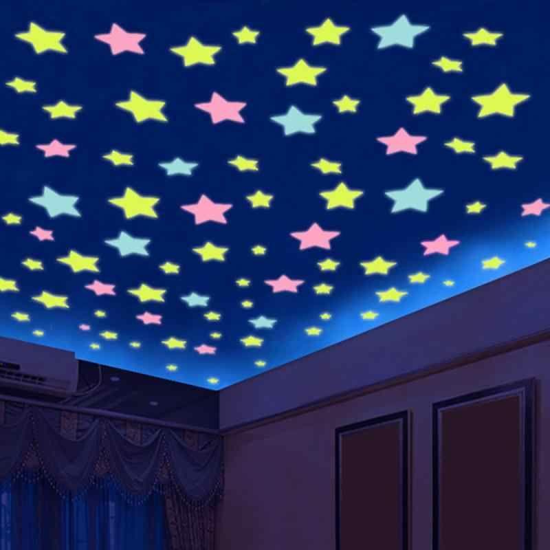 Estrellas 3d Que Brillan En La Oscuridad Nuevas Y Coloridas Pegatinas De Plástico Para Pared Sala De Estar Decoración Del Hogar Habitaciones Para Niños 100 Wall Stickers Bedroom Kids Room Wall
