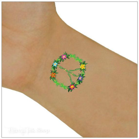 Temporary Tattoo 2 Peace Signs Waterproof Ultra Thin ...