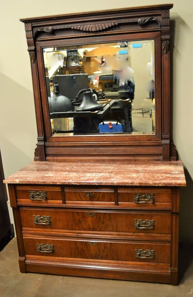 Antique Solid Wood Eastlake Victorian Marble Top Dresser With Large Mirror And
