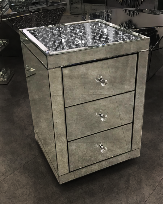 Floating Crystal On Top 3 Drawer Bedside Mirrored Furniture