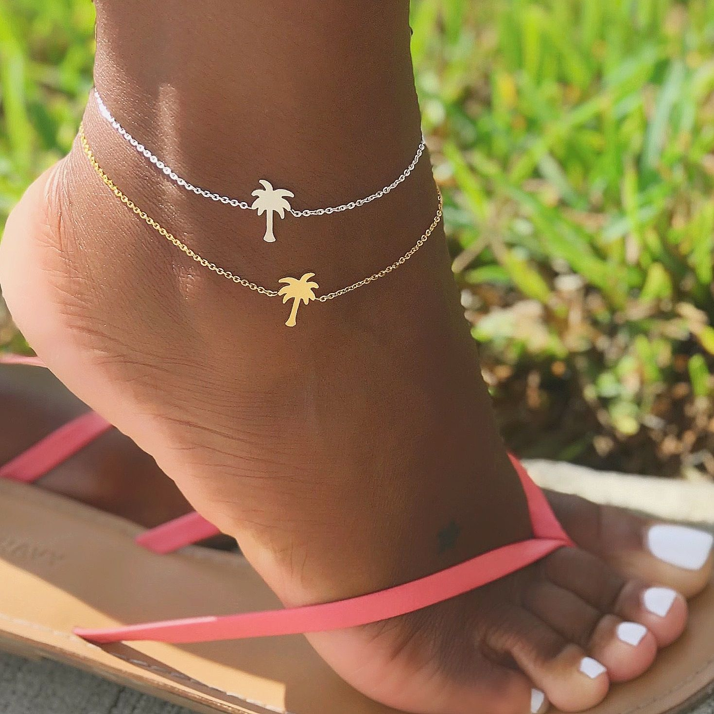 Pinele Palm Tree Anklets