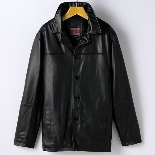 Men's 4 Button leather car coat,by Excelled Men's Collection size ...
