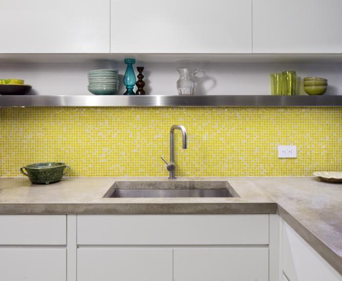 Remodeling 101: Shou Sugi Ban Charred Wood. Concrete Kitchen  CountertopsYellow TileGlass ...