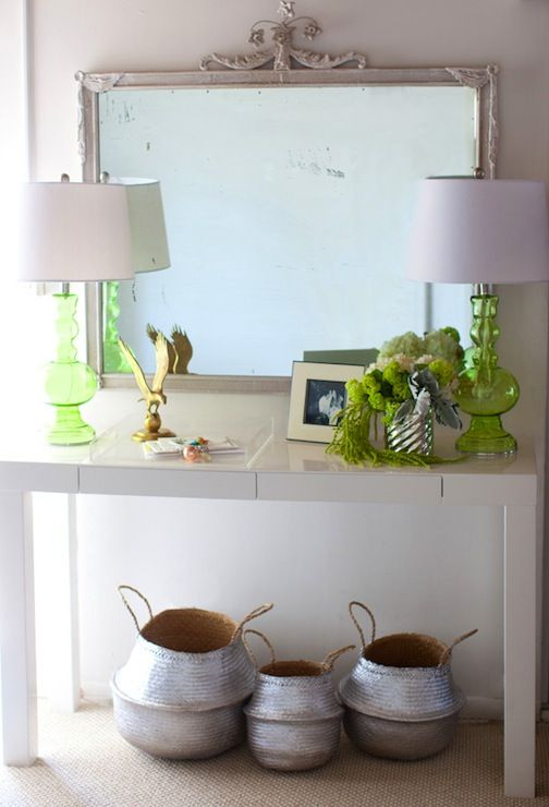 the life styled west elm parsons console table green glass lamps and lantern moon