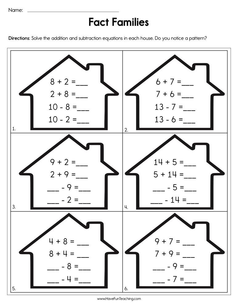 Completing Fact Families Worksheet in 2020   Fact family ...