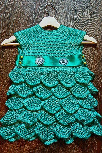 летнее платье для девочки вязание детского платья крючком для