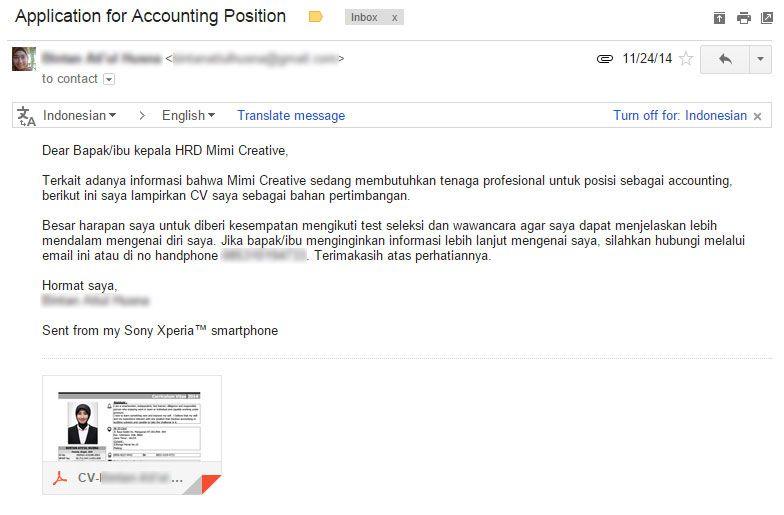 contoh lamaran kerja via email pdf bahasa inggris