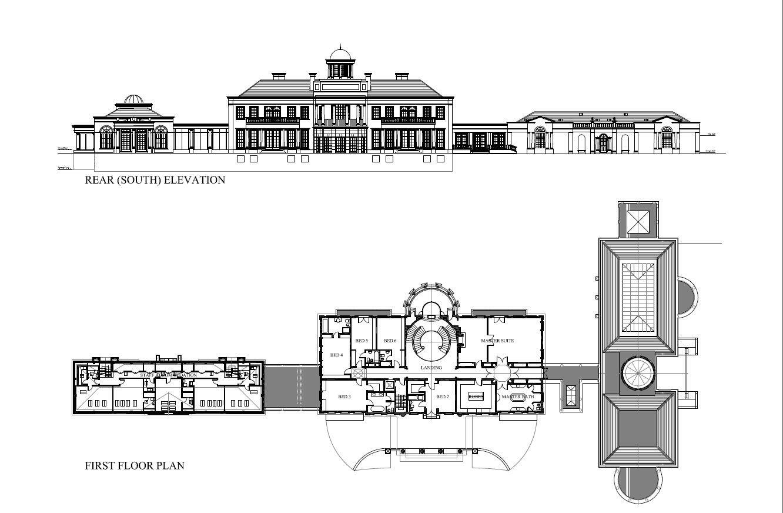 First floor (bedroom) plan of Windlesham House in Surrey County near London, England.