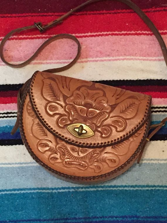70s Vintage Tooled Leather Purse Hippie Boho Chic Handbag Ethnic Mexican Native Southwestern Bohemian Crossbody Bag
