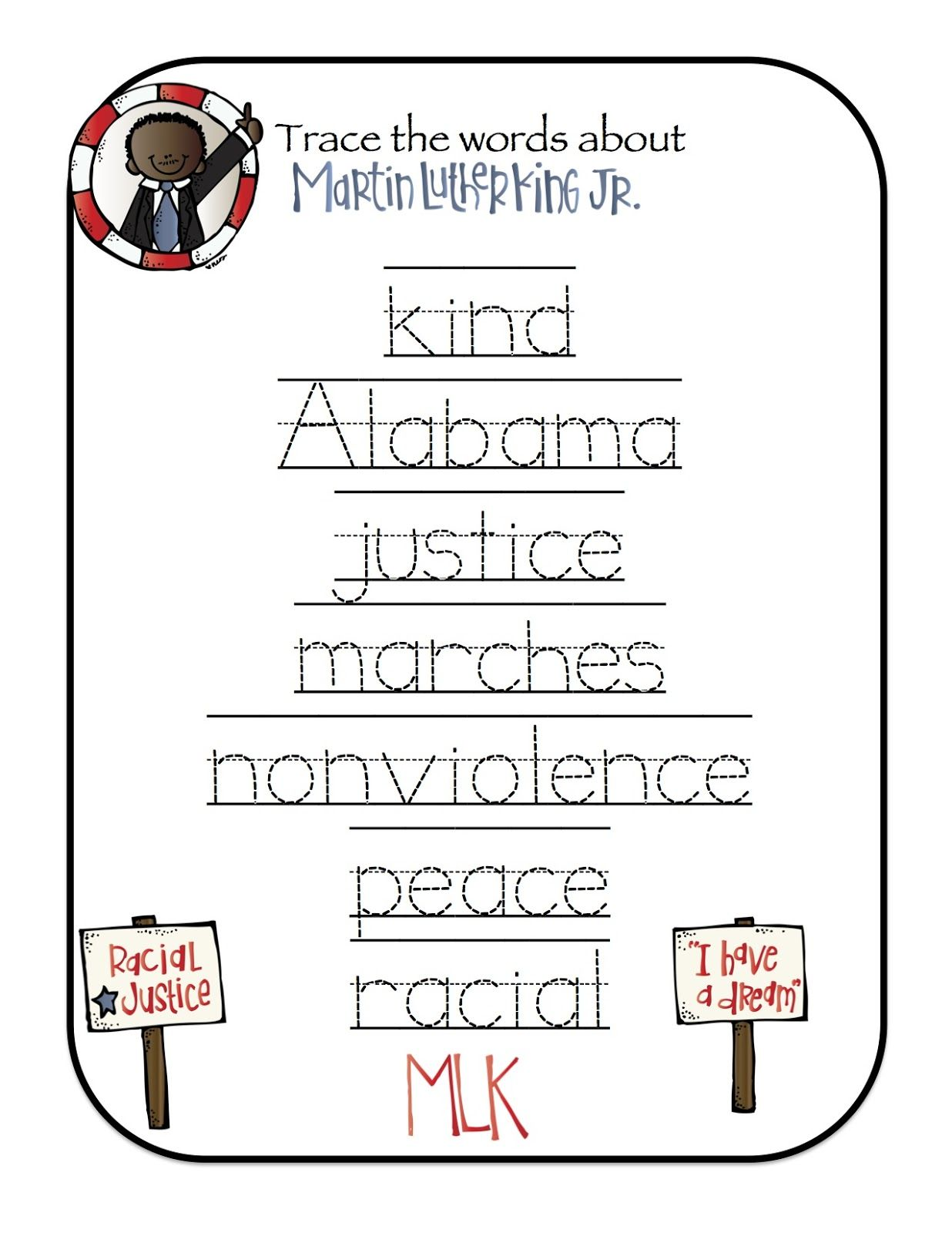 - Preschool Printables: Free Martin Luther King Mini Printable