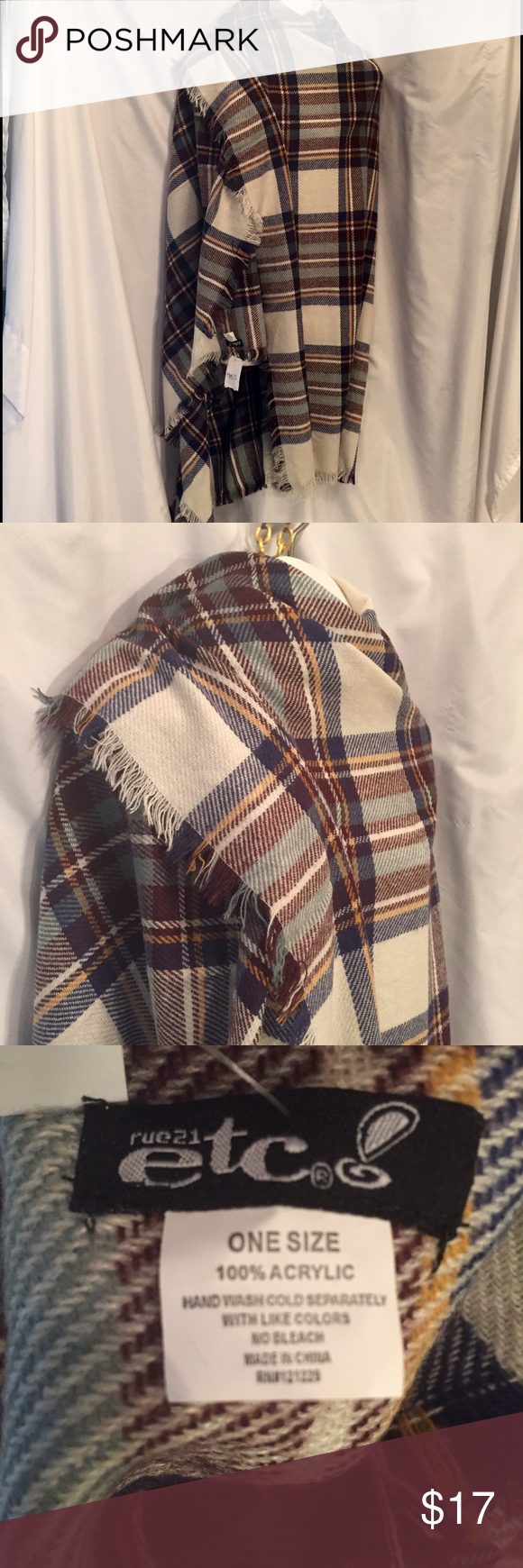 """Oversize plaid blanket scarf new wrap shawl New plaid warm Oversized scarf/wrap, with fringe all away around. 58"""" squire.  100% soft knit polyester. Rue 21 Accessories Scarves & Wraps"""