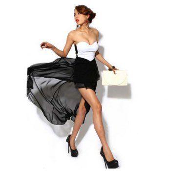 Cheap Wholesale Women's Cotton+Chiffon Dress With Sweetheart Back Zipper and Irregular Hem Design (BLACK,ONE SIZE) At Price 13.57 - DressLily.com