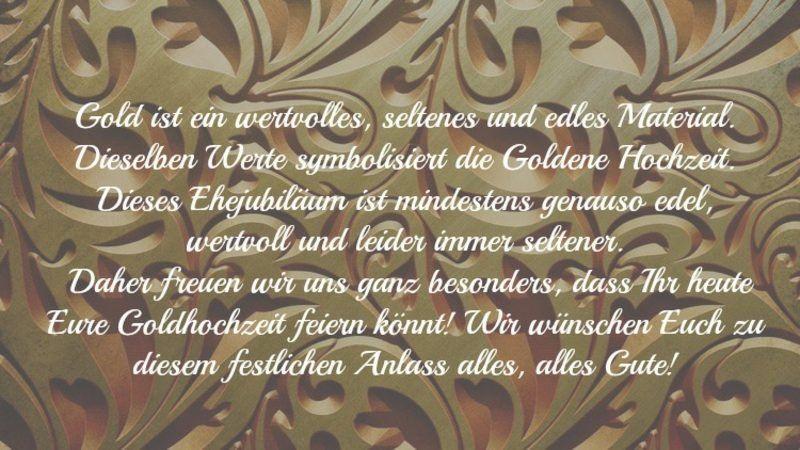Glückwünsche und Sprüche für die goldene Hochzeit der