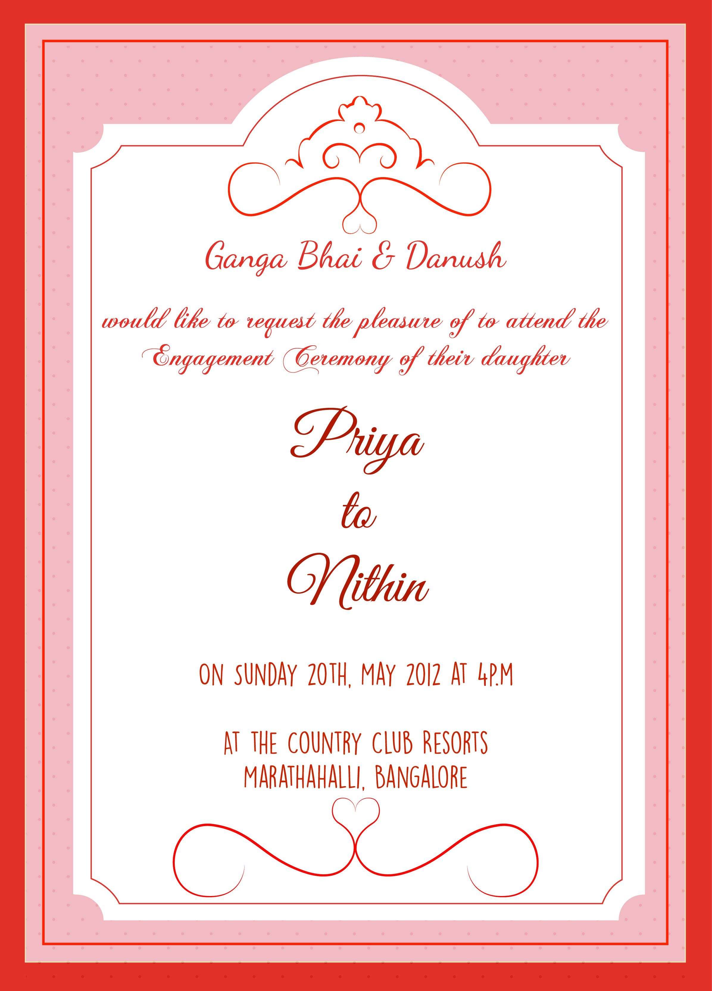 Dear Friend I Invite You My Sister S Engagement To Be Held At My