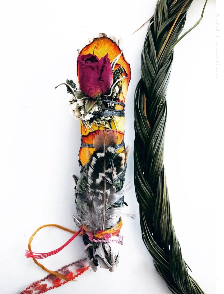 Divine sage smudge stick + sweetgrass Smudging, Wands