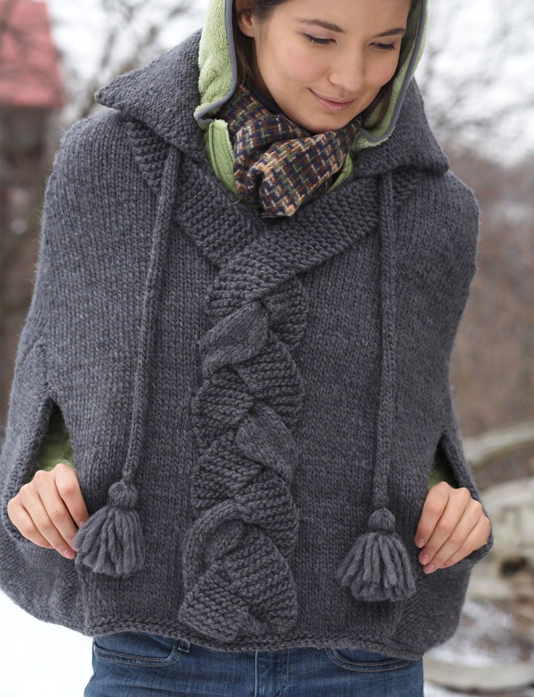 Braid Detail Cape - Patterns | Yarnspirations - I love this design. Will add it to my list to design a crochet one.