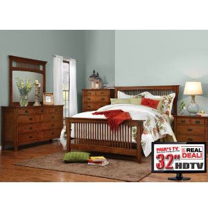 Trudy 6pc Queen Bedroom Set With TV. {Mission Style}