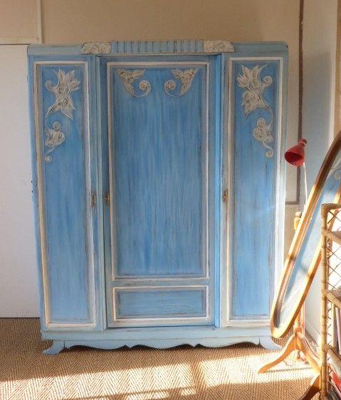 armoire penderie vintage (année 50) repeint avec une peinture - peindre une armoire en bois