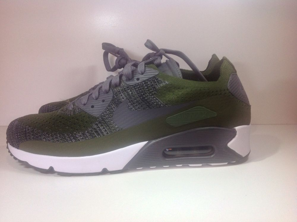 dc1c226852f07 875943-300  NIKE AIR MAX 90 ULTRA 2.0 FLYKNIT ROUGH GREEN GREY WHT ...