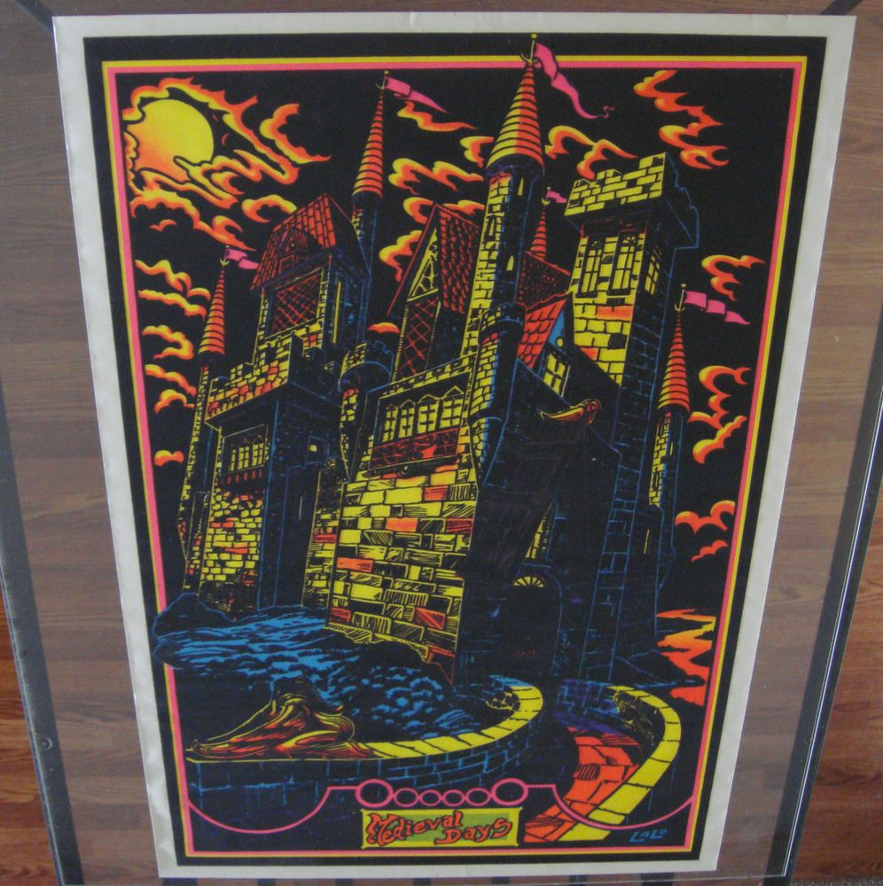 "Vintage Velvet Flocked Black light Poster ""Midieval Days"" Lalo 1970's Castle  #UrbanArt"