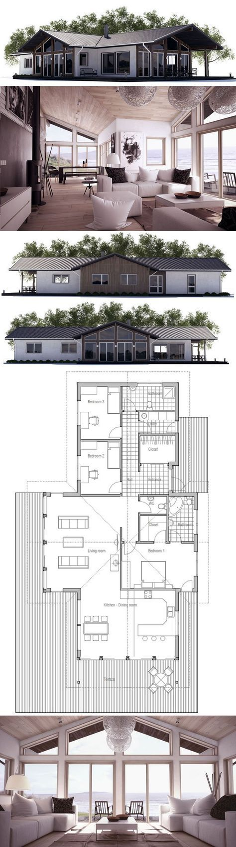 Small House Plan with three bedrooms and
