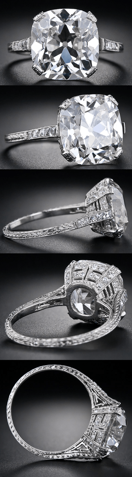 6.48 carat antique cushion cut diamond ring. | Diamonds in the Library