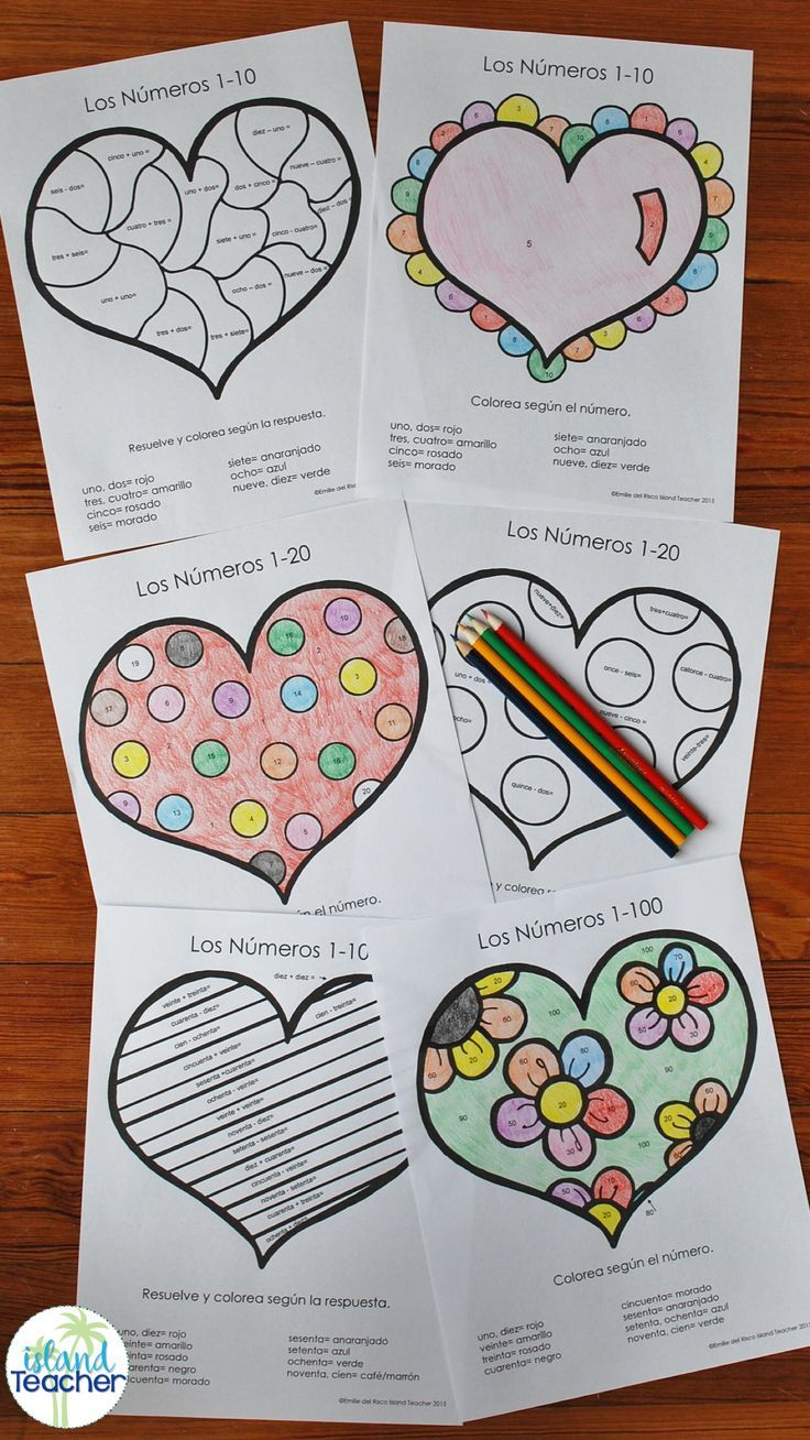 Spanish colors for preschool - Spanish Valentine S Day Heart Color By Number Varied Levels To Practice Spanish Colors And