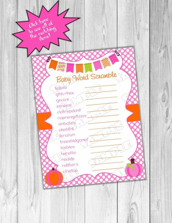 Pink Pumpkin fall Baby shower games word scramble game Printable INSTANT DOWNLOAD UPrint by greenmelonstudios pumpkin baby shower