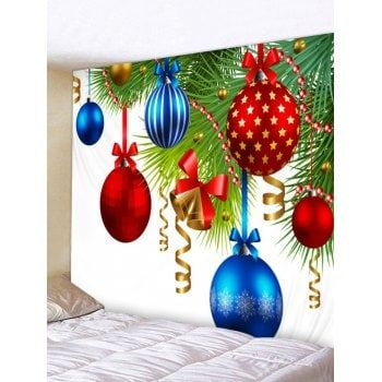 eb4fdb76551 Free shipping 2018 Christmas Baubles Bowknot Print Wall Art Tapestry in  multicolor W91 X L71 INCH
