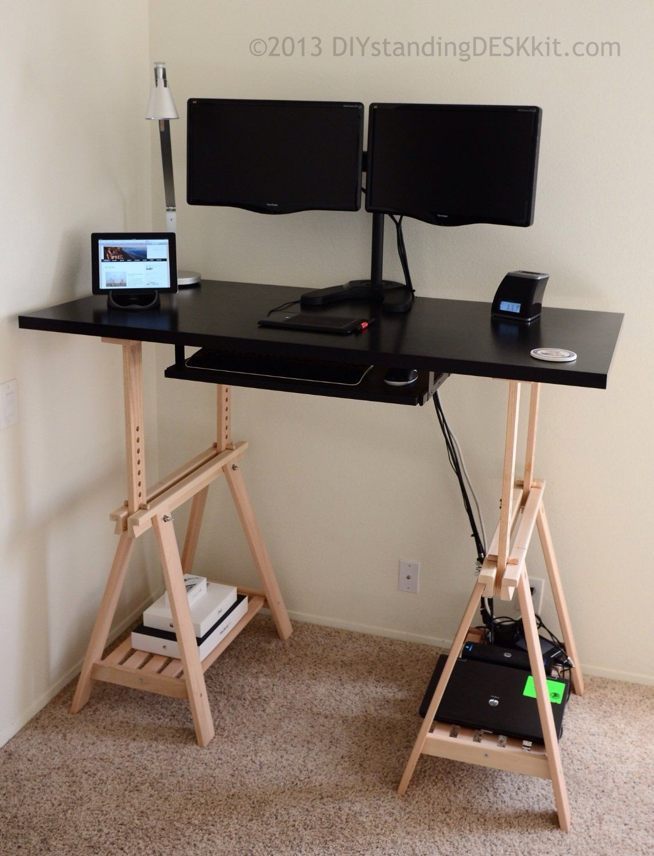 Ikea Linnmon Finnvard Trestle Desk Diy Standing Desk Adjustable Standing Desk Standing Desk