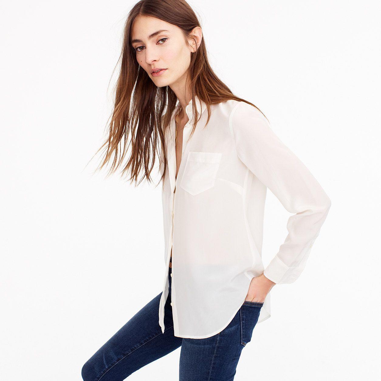 17586efabc3b8 J.Crew Womens Petite Silk Button-Up Shirt (Size 00 Petite ...