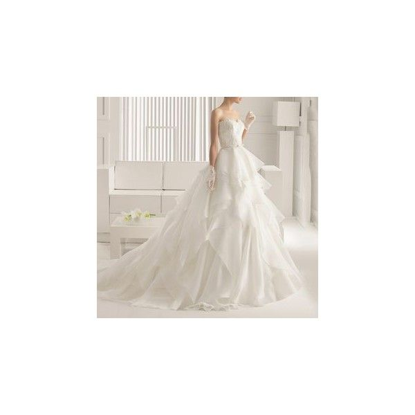 Strapless Frilled Ball Gown Wedding Dress 411 Liked On Polyvore Featuring Dresses