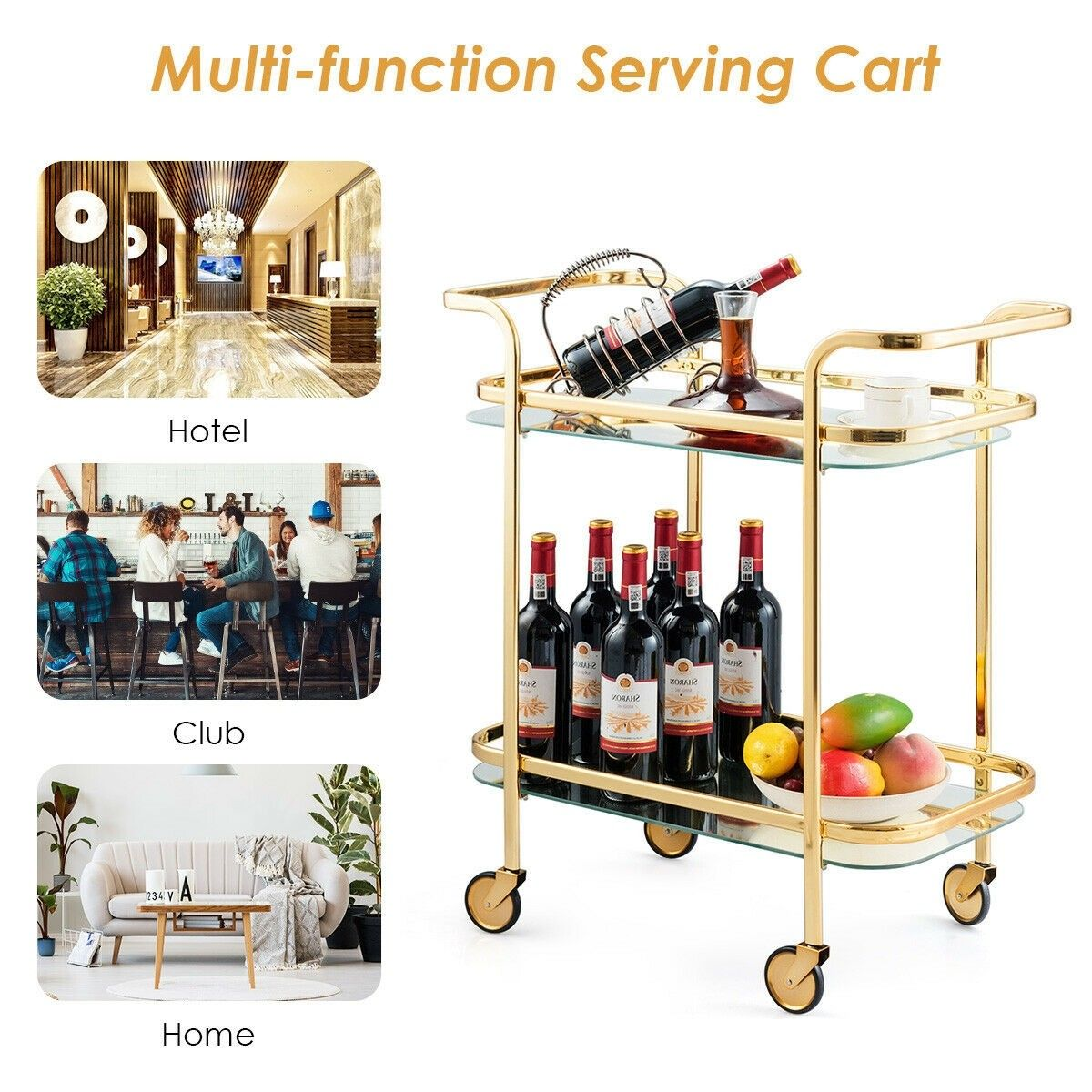2 Tier Metal Frame Rolling Kitchen Cart With Glass Shelves With Images Glass Shelves Kitchen Roll