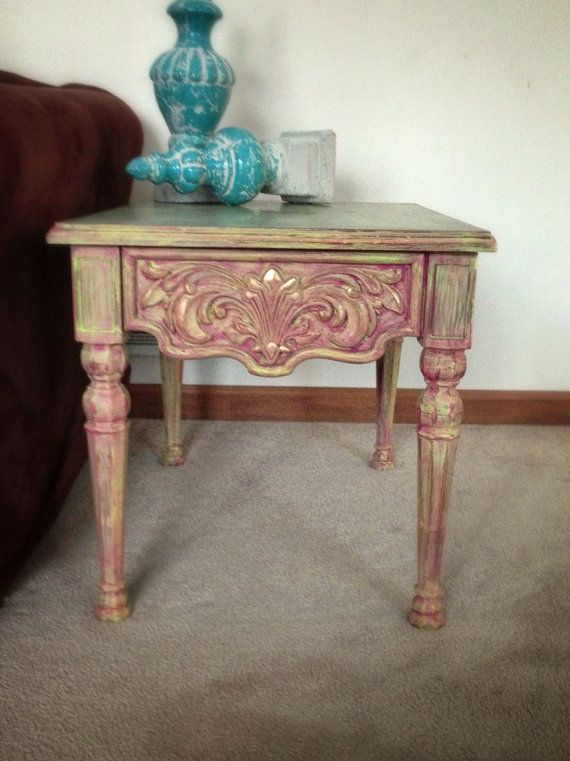 Coffee table distressed chalk paint Boho Shabby by girlUPcycled ...