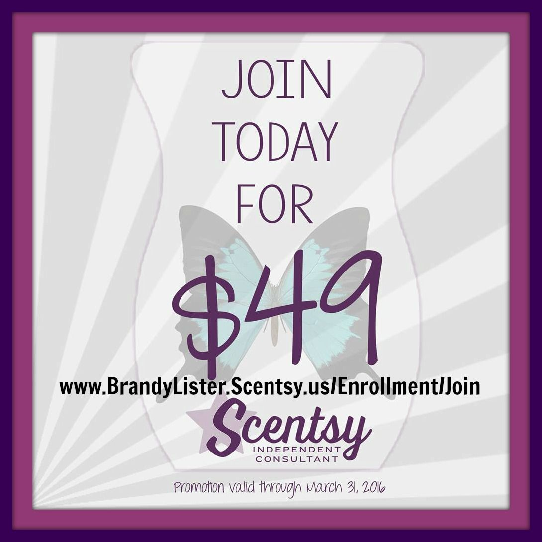 Could Scentsy help you make that car payment? Help you pay for little league or dance lessons? Help you pay off debt or save for that vacation? Join my team between now and March 31, 2016 for ONLY $49 and see what Scentsy can do for you! www.brandylister.scentsy.us/enrollment/join  Follow me on Facebook! https://www.facebook.com/Brandy-Lister-Independent-Scentsy-Consultant-326304630828687/