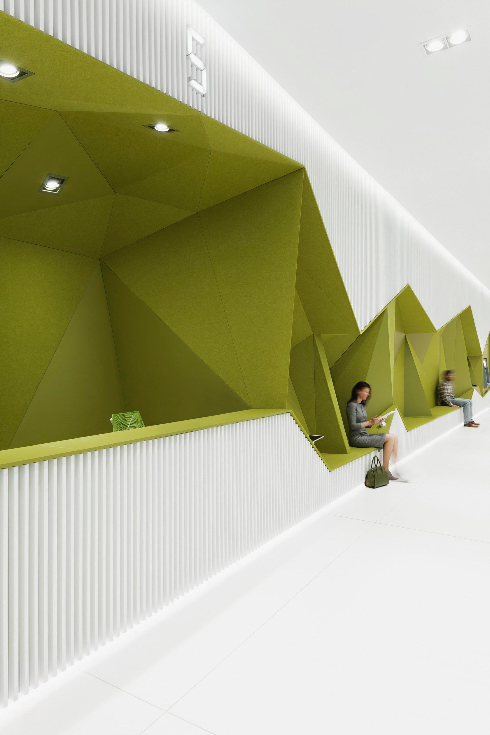 Green ziggy zaggy waiting space office office pinterest spaces interiors and office designs - Green interior design ...